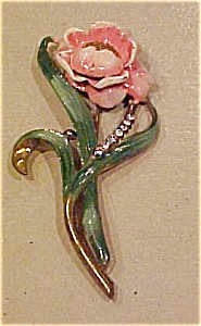 Enamel and rhinestone flower pin (Image1)