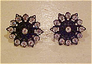 Black plastic rhinestone earrings (Image1)