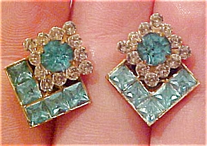 Blue and clear rhinestone earrings (Image1)