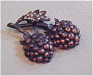 Copper fruit pin with rhinestones (Image1)