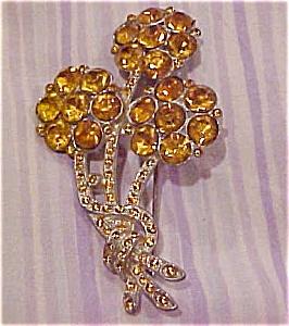 Flower pin with topaz rhinestones (Image1)