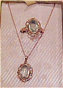 Aqua glass ring and pendant set (Image1)