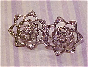 Rhinestone flower earrings (Image1)