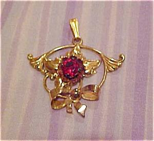 1940's retro pendant w/red rhinestone (Image1)