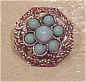 Silvertone pin with faux turquoise (Image1)