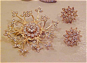 Rhinestone pin and earring set (Image1)