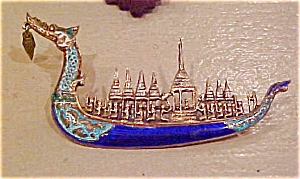 Siam Sterling silver Enamel Ship Pin (Image1)
