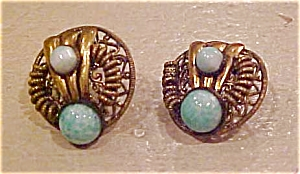 Czechoslovakian earrings w/green glass (Image1)