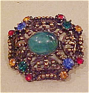 Goldtone pin with cab and rhinestones (Image1)