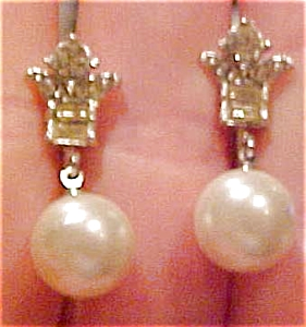 Coro rhinestone and faux pearl earrings (Image1)