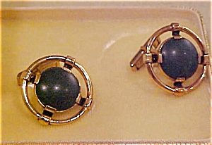 Sterling vermeil cufflinks w/malachite (Image1)