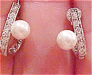 Faux pearl and rhinestone earrings (Image1)