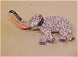 Elephant pin with rhinestones & enamel (Image1)