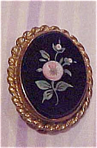 Pietra Dura Brooch With Flowers