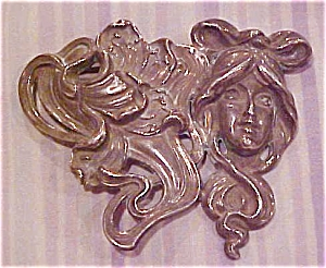 Kerr art nouveau brooch with lady (Image1)
