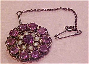 Seed pearl and amethyst pin (Image1)