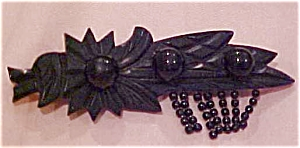 Whitby Jet Brooch With Beads