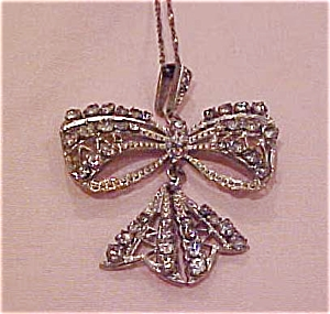 Edwardian bow necklace w/rhinestones (Image1)