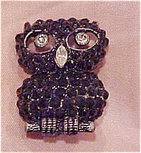 Owl brooch with rhinestones (Image1)