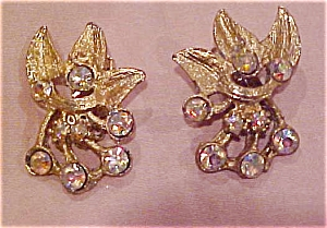 Leaf design earrings with rhinestones (Image1)
