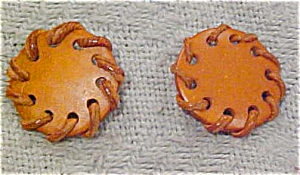 1960s leather earrings (Image1)
