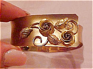 Sterling vermeil hinged bangle with roses (Image1)
