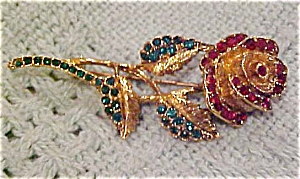 Rose pin with green and red rhinestones (Image1)