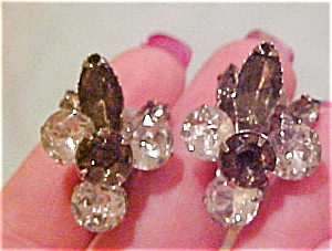 Clear and grey rhinestone earrings (Image1)