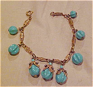 Miriam Haskell bracelet w/turquoise glass (Image1)