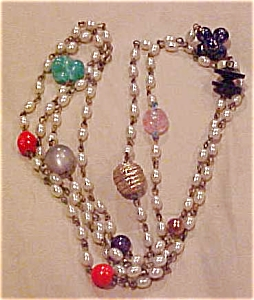 Faux pearl and glass bead necklace (Image1)