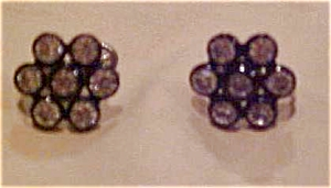 Black plastic earrings with rhinestones (Image1)