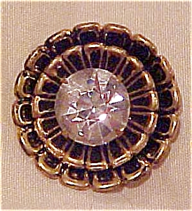 Black flower button with rhinestone (Image1)