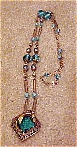 Czechoslovakian necklace w/blue glass (Image1)