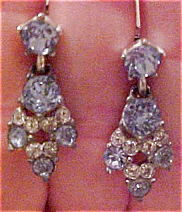 Light blue & Clear rhinestone earrings (Image1)