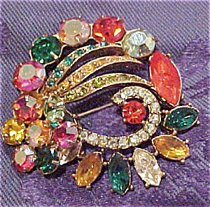 Multi colored rhinestone pin (Image1)