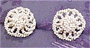 White seed bead earrings (Image1)