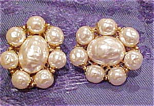 Miriam Haskell Faux Pearl Earrings (Image1)