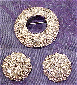 Rhinestone pin and earrings (Image1)