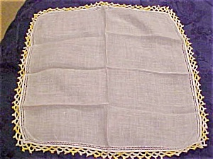 2 Handkerchiefs w/yellow crocheted edges (Image1)