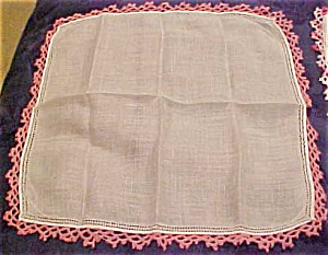 Handkerchief with pink crocheted edging (Image1)