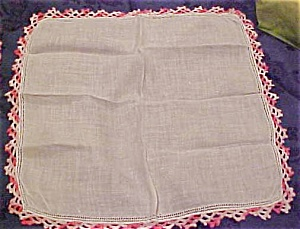 Handkerchief with pink edging (Image1)