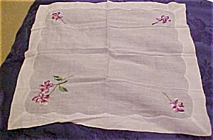 Handkerchief with purple flowers (Image1)