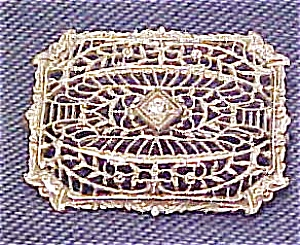 Filligree pin with rhinestone (Image1)