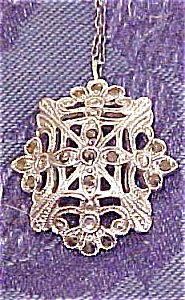 Sterling and marcasite pendant on chain (Image1)