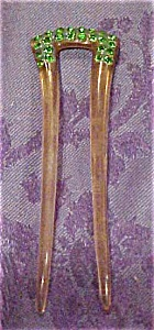 Celluloid hair pin with rhinestones (Image1)