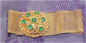 Goldtone bracelet with green rhinestones (Image1)