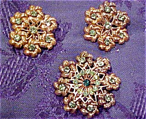 Floral design earrings and pin (Image1)