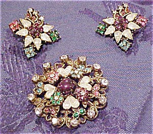 Rhinestone pin and earring set (Image1)