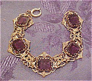 Czechoslovakian bracelet w/amethyst glass (Image1)