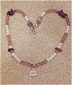 Necklace with faux pearls, glass beads (Image1)
